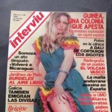 Coleccionismo de Revista Interviú: INTERVIU N.218 BRIGITTE BARDOT , GUINEA , LA MAFIA ANDORRANA , GALICIA , EL VOLCAN VASCO , DALI ,. Lote 197852210