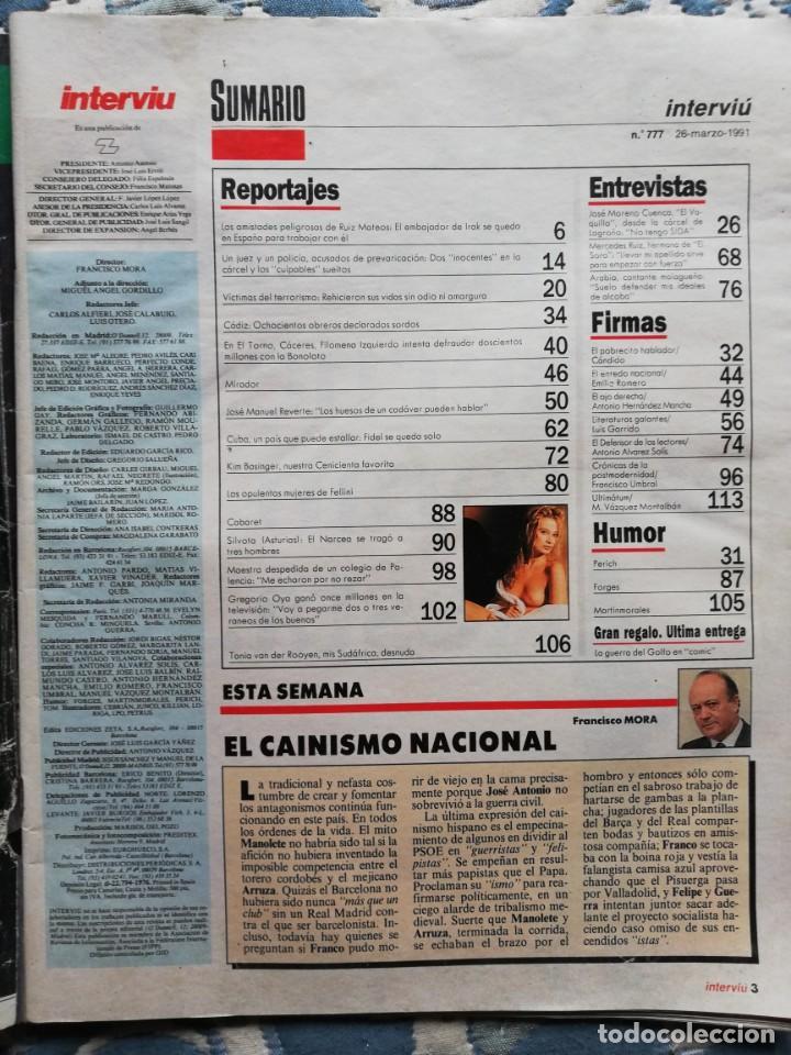 Coleccionismo de Revista Interviú: Interviu N° 777. Tania. El Vaquilla. Las opulenta mujeres de Fellini - Foto 2 - 200558572
