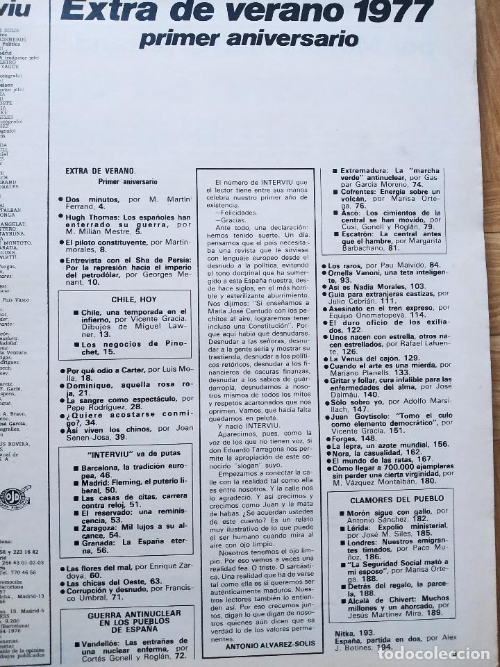 Coleccionismo de Revista Interviú: REVISTA INTERVIU EXTRA VERANO 1977. NADIA MORALES. PRIMER ANIVERSARIO. SHA PERSIA. PINOCHET. CHICAS - Foto 2 - 223209548
