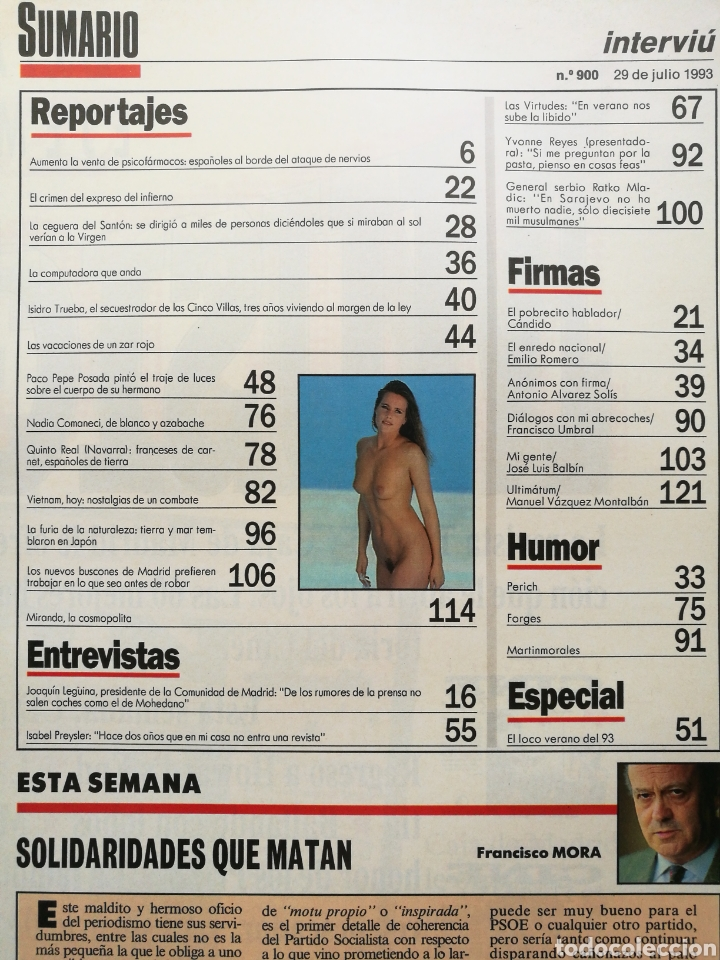 Coleccionismo de Revista Interviú: INTERVIÚ 900 1993 ALBA PARIETTI, YVONNE REYES, LAS VIRTUDES, JULIO APARICIO, NADIA COMANECI PREYSLER - Foto 2 - 262745835