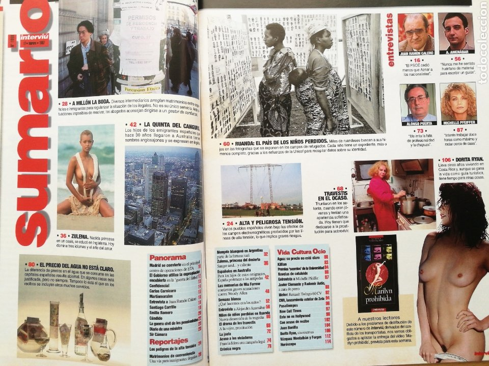 Coleccionismo de Revista Interviú: REVISTA INTERVIÚ N.º 1086 1997 ZULEMA, MICHELLE PFEIFFER, DORITA RYAN, AMENABAR, ALONSO PUERTA - Foto 2 - 262754065
