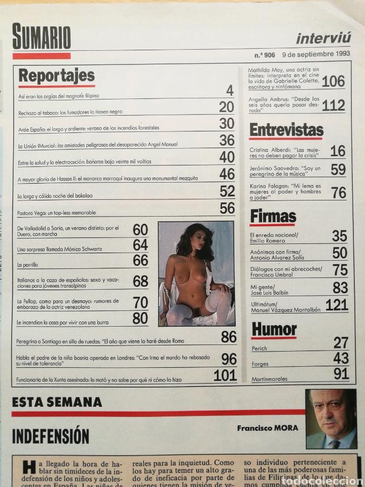 Coleccionismo de Revista Interviú: INTERVIÚ N.º 906 1993 ALBA PARIETTI, EVA PEDRAZA, CATHERINE FULLOP, VICTORIA OLIVER, MATHILDA MAY - Foto 2 - 262755930