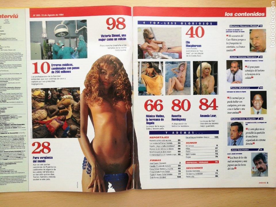 Coleccionismo de Revista Interviú: REVISTA INTERVIÚ N.º 955 1994 MONICA MOLINA, JOSE SACRISTAN, ROSETTA HEMINGWAY, VICTORIA VIVAS - Foto 2 - 262756280