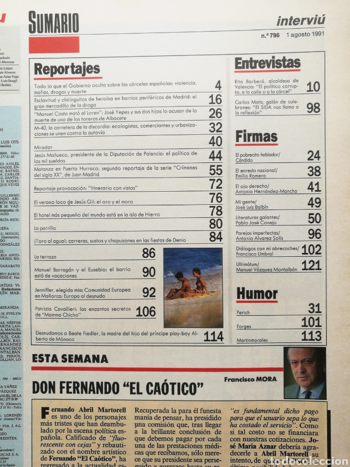 Coleccionismo de Revista Interviú: INTERVIÚ N.º 796 1991 PATRIZIA CAVALLERI, MAMMA CHICHO, BOUS MAR DENIA, CARLOS MATA, BEATE FIEDLER - Foto 2 - 262756390