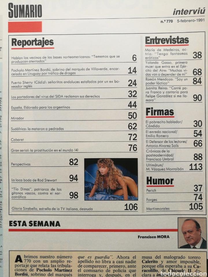 Coleccionismo de Revista Interviú: INTERVIU Nº 770 1991 GLORIA SIRABELLA, POCHOLO, MARÍA DE MEDEIROS, JUANITA REINA, RAMÓN MENDOZA - Foto 2 - 262756680