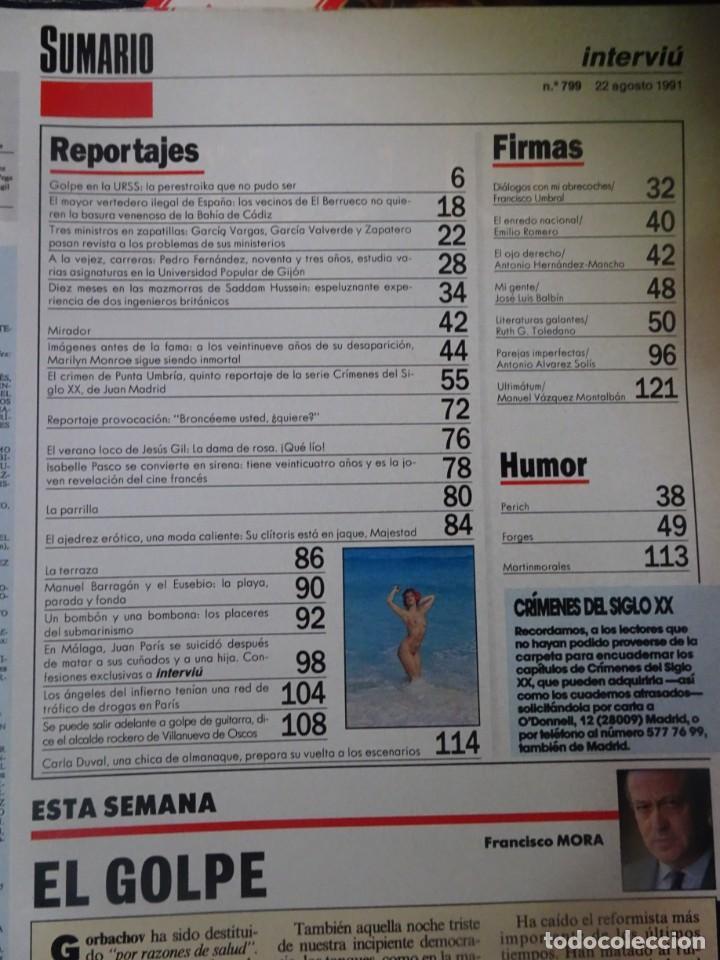 Coleccionismo de Revista Interviú: INTERVIU Nº 799, CARLA DUVAL, ISABELLE PASCO, HELL,S ANGELS , EL BERRUECO, VILLANUEVA DE OSCOS - Foto 2 - 265815434