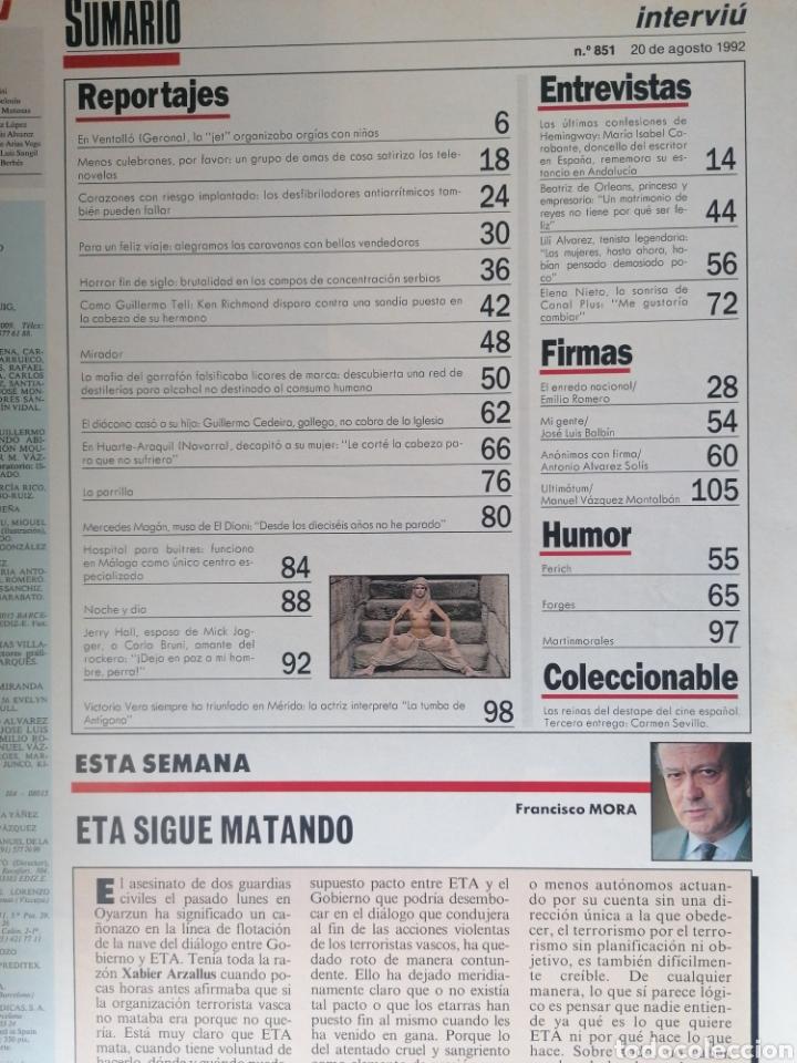 Coleccionismo de Revista Interviú: INTERVIÚ 851 1992 VICTORIA VERA, CARMEN SEVILLA, MERCEDES MAGÁN, LILÍ ALVAREZ, ELENA NIETO - Foto 2 - 268617274