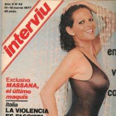 Colecionismo da Revista Interviú: INTERVIU. Nº 43. BÁRBARA BOUCHEL. 16 MARZO 1977 (P/B72). Lote 269105298