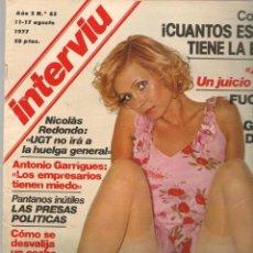 Colecionismo da Revista Interviú: INTERVIU. Nº 65. SYLVIA KOSCINA. 11 AGOSTO 1977 (P/B72). Lote 269109178