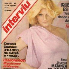 Colecionismo da Revista Interviú: INTERVIU. Nº 66. ROSANNA YANNI. 18 AGOSTO 1977 (P/B72). Lote 269109418