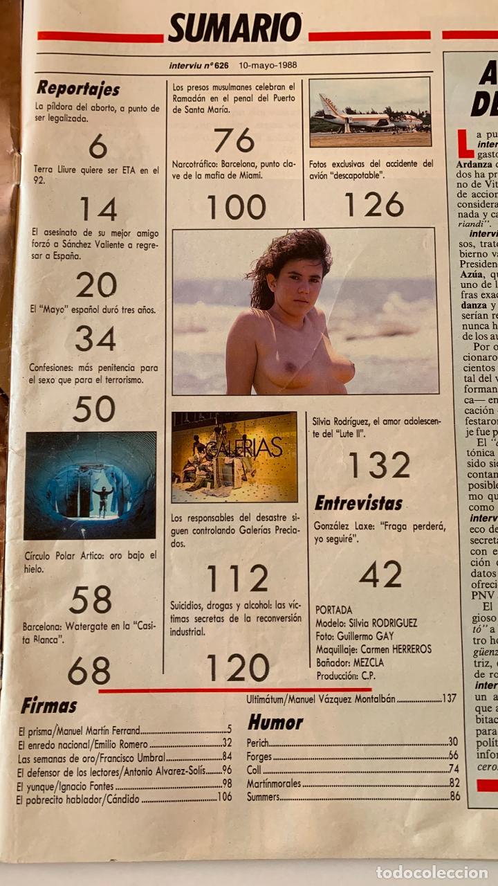 Coleccionismo de Revista Interviú: REVISTA INTERVIU Nº 626 MAYO 1988 SILVIA RODRIGUEZ EL LUTE II - Foto 3 - 290115563