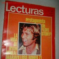 Coleccionismo de Revistas: REVISTA -LECTURAS- AÑO 1971. EN PORTADA RYAN O NEAL PROTAGONISTA DE LOVE STORY, RAPHAEL EN MEJICO,. Lote 722334
