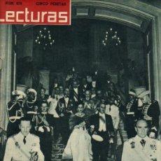 Coleccionismo de Revistas: LECTURAS / NÚMERO 476 / S.E. EL JEFE DEL ESTADO FRANCISCO FRANCO Y SU ESPOSA EN BARCELONA. Lote 26988143
