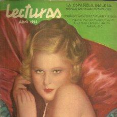 Coleccionismo de Revistas: REVISTA LECTURAS ABRIL 1932 LEOCADIA ALBA 1 HOJA, RAMON NOVARRO EN BEN-HUR 7 PAGINAS. Lote 48202918