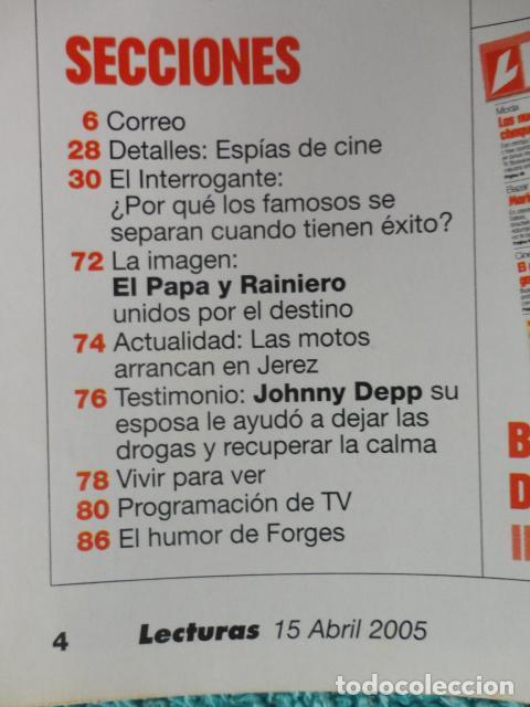 Coleccionismo de Revistas: REVISTA LECTURAS Nº 2768 -AÑO 2005 -EL PAPA EMPRENDE SU ULTIMO VIAJE -ALBERTO DE MONACO - MOTOS - Foto 4 - 67544693