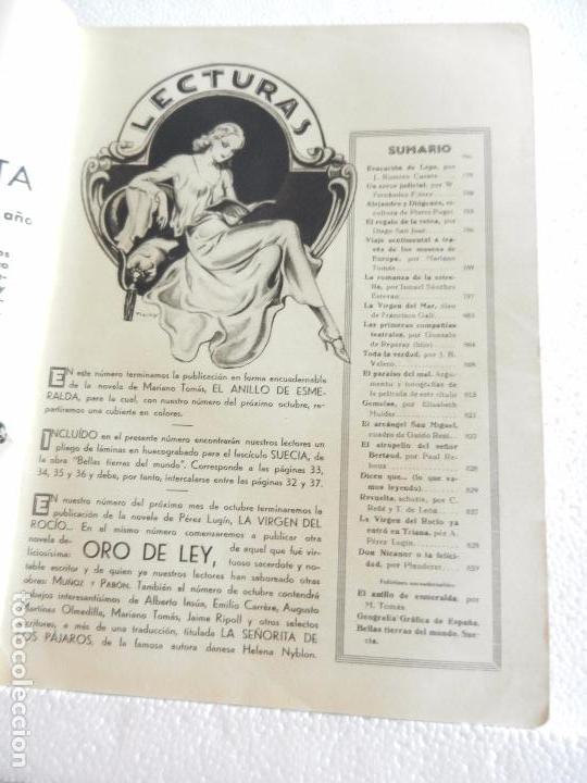 Coleccionismo de Revistas: REVISTA LECTURAS. NUM. 148 SEPTIEMBRE 1933. SUMARIO - Foto 2 - 82561576