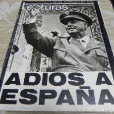 Coleccionismo de Revistas: REVISTA LECTURAS 28/11/1975 FRANCO - SARA MONTIEL - MARISOL - BLANCA ESTRADA - MIGUEL GALLARDO. Lote 110113535