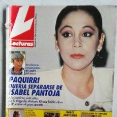 Coleccionismo de Revistas: REVISTA LECTURAS N° 2060 27/09/91 1991 ISABEL PANTOJA MARTA SÁNCHEZ MICHAEL J. FOX ELIZABETH TAYLOR. Lote 111829587