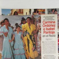 Coleccionismo de Revistas: RECORTE REVISTA LECTURAS CARMINA ORDÓÑEZ ISABEL PANTOJA ROCIÓ 2 HOJAS CLIPPING 3/6/94. Lote 125049368