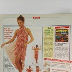 Coleccionismo de Revistas: COMO TRANSFORMAR PAREO EN VESTIDO REVISTA LECTURAS RECORTE CLIPPING. Lote 125050503