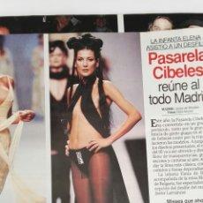 Coleccionismo de Revistas: RECORTE PASARELA CIBELES REVISTA LECTURAS 14/10/94 2 HOJAS JOAQUÍN CORTES ANTONIO FLORES BERTIN. Lote 125055288