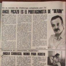 Coleccionismo de Revistas: RECORTE REVISTA LECTURAS 1256 1976 ANGEL PICAZO, ANGELA CARRASCO. . Lote 143615922