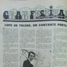 Collectionnisme de Magazines: RECORTE REVISTA LECTURAS Nº 1158 1974 JOHN MAYALL. II MUESTRA DE LA CANCION BELTER, LOPE DE TOLEDO. Lote 146191486