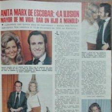 Coleccionismo de Revistas: RECORTE LECTURAS Nº 1178 1974 ANITA MARX DE ESCOBAR, MANOLO ESCOBAR, JUAN PARDO. Lote 146539730