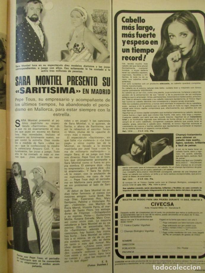 RECORTE LECTURAS Nº 1174 1974 SARA MONTIEL, PEPE TOUS (Coleccionismo - Revistas y Periódicos Modernos (a partir de 1.940) - Revista Lecturas)