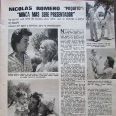 Coleccionismo de Revistas: RECORTE LECTURAS Nº 1165 1974 NICOLAS ROMERO, LUISA SAN JOSE HAYLEY MILLS. Lote 155885102