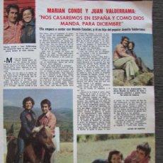 Coleccionismo de Revistas: RECORTE LECTURAS Nº 1165 1974 MARIAN CONDE Y JUAN VALDERRAMA. Lote 155885354