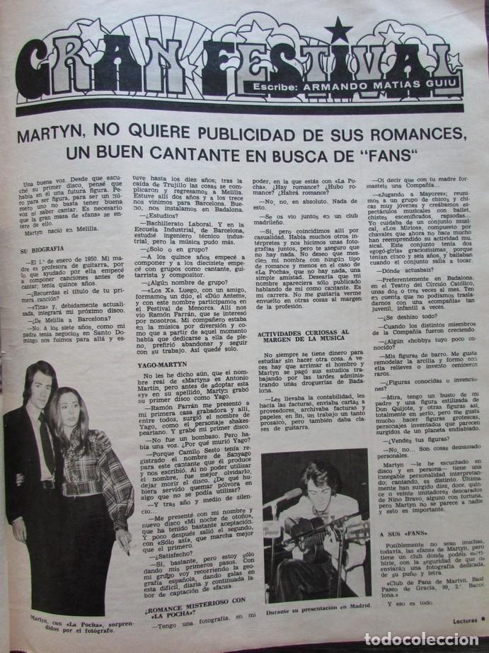 RECORTE LECTURAS Nº 1165 1974 MARTYN, LA POCHA. (Coleccionismo - Revistas y Periódicos Modernos (a partir de 1.940) - Revista Lecturas)