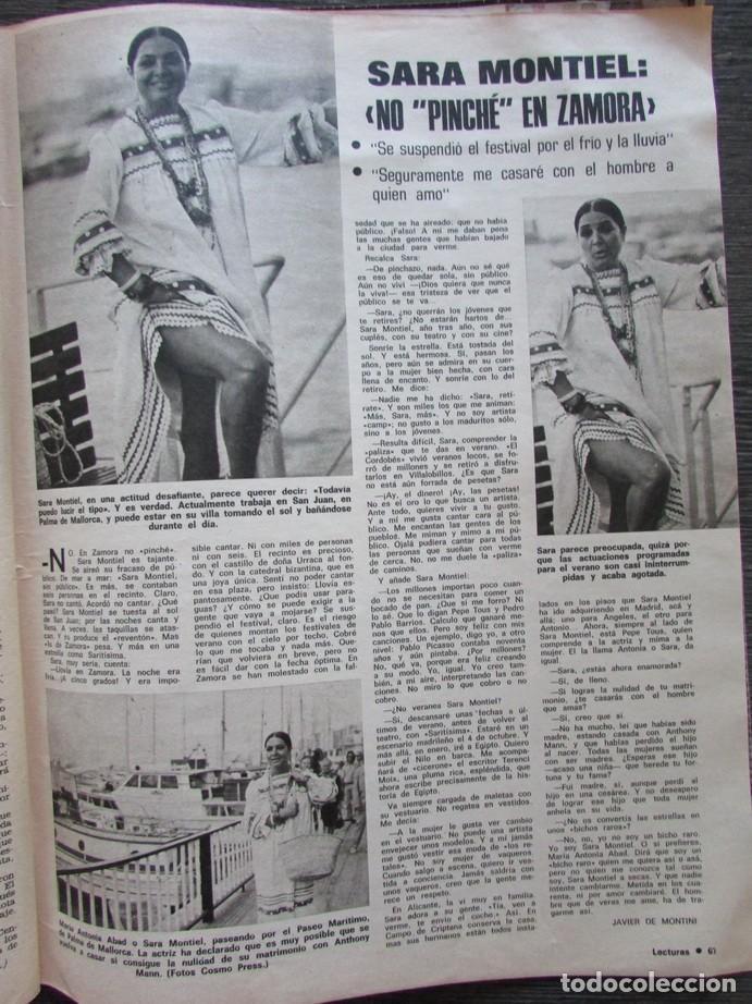 RECORTE LECTURAS Nº 1165 1974 SARA MONTIEL (Coleccionismo - Revistas y Periódicos Modernos (a partir de 1.940) - Revista Lecturas)
