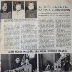 Coleccionismo de Revistas: RECORTE LECTURAS Nº 1300 1977 TRIO LA, LA, LA, EUROVISION, JAIME MOREY. Lote 158015666