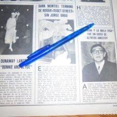 Collectionnisme de Magazines: RECORTE : SARA MONTIEL TERMINA DE RODAR, TUSET STREET. LECTURAS, FBRERO 1978 (). Lote 161643458