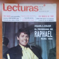 Collezionismo di Riviste: REVISTA LECTURAS Nº 823. 26 DE ENERO 1968. PORTADA RAPHAEL.. Lote 162453998