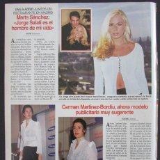 Coleccionismo de Revistas: RECORTE REVISTA LECTURAS Nº 2310 1996 MARTA SANCHEZ. Lote 165587158