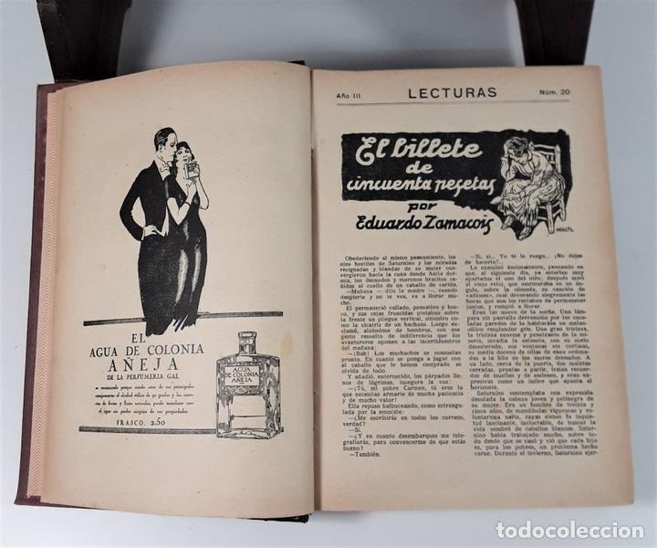 Coleccionismo de Revistas: REVISTA MENSUAL. LECTURAS. AÑO III. 6 EJEMPLARES EN I TOMO. BARCELONA. 1923. - Foto 4 - 167390988