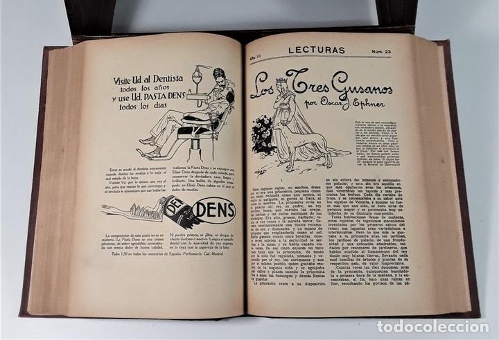 Coleccionismo de Revistas: REVISTA MENSUAL. LECTURAS. AÑO III. 6 EJEMPLARES EN I TOMO. BARCELONA. 1923. - Foto 7 - 167390988