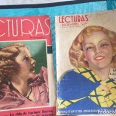 Coleccionismo de Revistas: PAREJA REVISTAS LECTURAS MUY ANTIGUAS. Lote 169112900