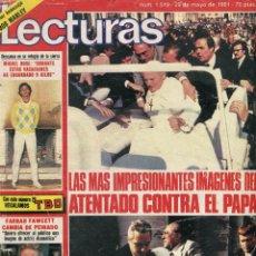 Coleccionismo de Revistas: LECTURAS Nº 1519 -JUAN PABLO II ATENTADO - BOB MARLEY POSTER-JOHON LENNON, LOS BEATLES - MAYO 1981. Lote 173417438
