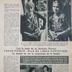 Coleccionismo de Revistas: RECORTE REVISTA LECTURAS Nº 961 1970 TARYN POWER. Lote 177383437