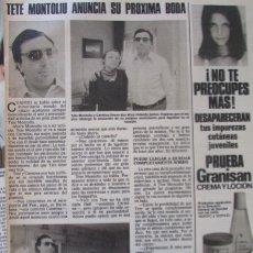 Coleccionismo de Revistas: RECORTE REVISTA LECTURAS Nº 1460 1980 TETE MOLTOLIU, EMMA COHEN. Lote 179241073