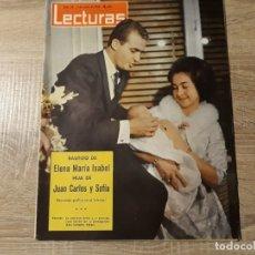 Coleccionismo de Revistas: BAUTIZO DE ELENA, JUAN CARLOS Y SOFÍA ETC LECTURAS 611 AÑO 1964. Lote 182414757