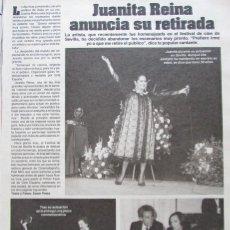 Coleccionismo de Revistas: RECORTE REVISTA LECTURAS 1649 1983 JUANITA REINA. Lote 186273535
