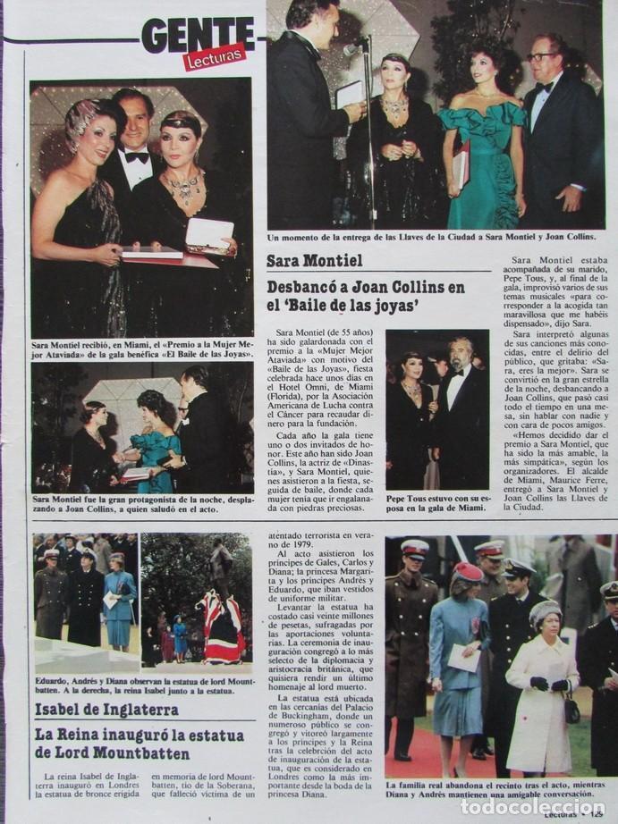 RECORTE REVISTA LECTURAS 1649 1983 SARA MONTIEL (Coleccionismo - Revistas y Periódicos Modernos (a partir de 1.940) - Revista Lecturas)