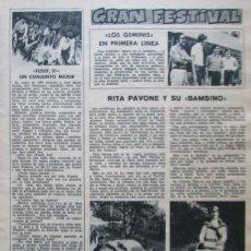 Coleccionismo de Revistas: RECORTE REVISTA LECTURAS 922 1969 LOS GEMINIS, RITA PAVONE, TUSET 31, ROLLING STONES,SERRAT. Lote 186347955