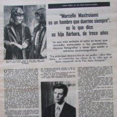 Coleccionismo de Revistas: RECORTE REVISTA LECTURAS Nº 661 1964 MARCELLO MASTROIANNI. Lote 188566187