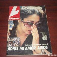 Coleccionismo de Revistas: REVISTA LECTURAS AÑO 1984- Nº 1695- ISABEL PANTOJA ADIOS A PAQUIRRI- CONTIENE POSTES SNOOPY. Lote 191227050