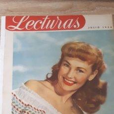 Coleccionismo de Revistas: REVISTA LECTURAS JULIO DE 1954 CON REFUERZO DE CINTA EN CANTO VER FOTOS DESGASTE DEL TIEMPO Y MARCAS. Lote 197591837